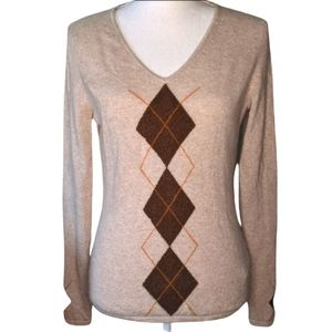 Lord & Taylor Argyle Two Ply Cashmere sweater